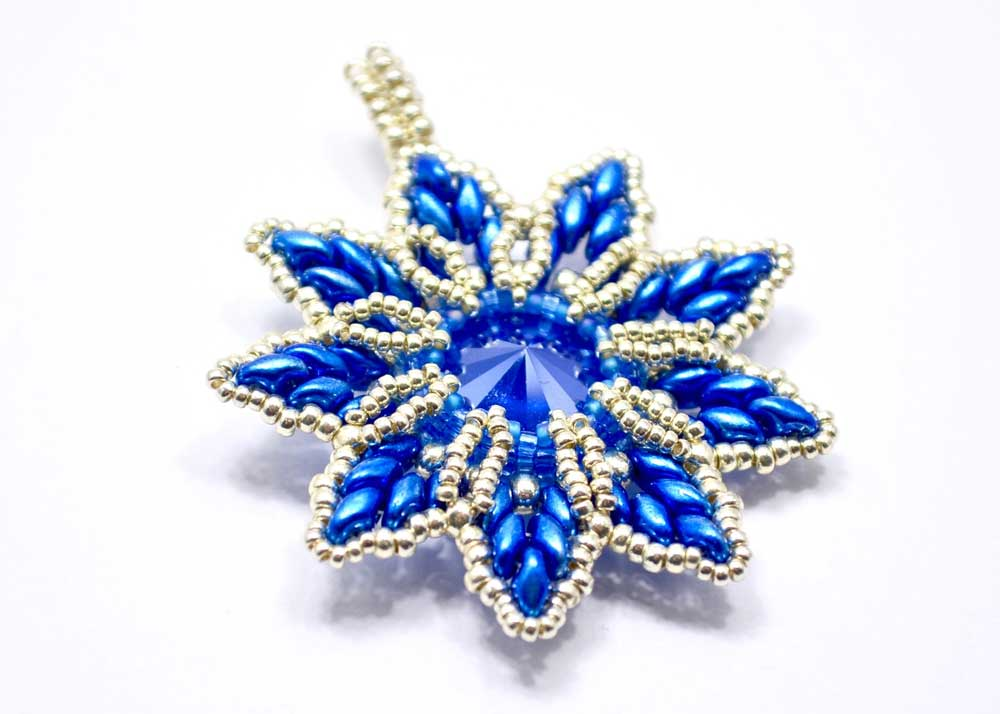 blue silver swarovski christmas ornament and pendant