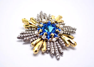 unique blue silver swarovski medal brooch