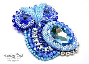blue beaded swarovski owl pendant and brooch