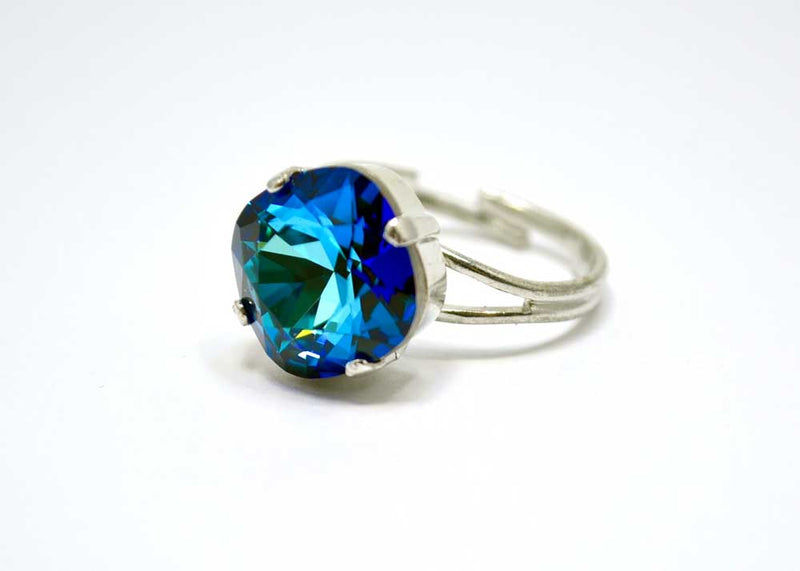 swarovski adjustable ring blue
