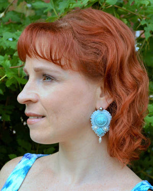 blue white beaded earrings