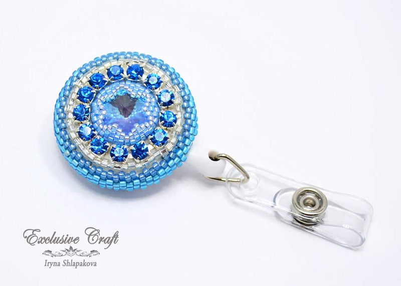 unique beaded ID badge reel for nurse blue