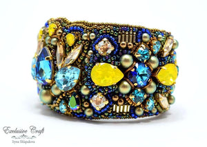 unique beaded swarovski cuff bracelet unique BEAD EMBROIDERY jewelry