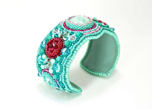 blue beaded embroidered cuff bracelet