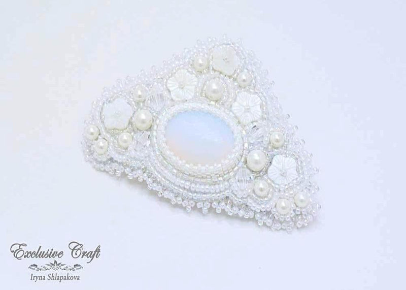 white wedding hair barrette small