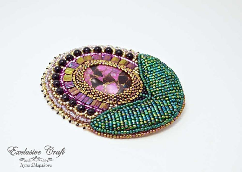 bead embroidered pendant brooch