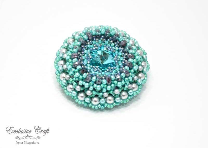 bead embroidered blue grey brooch