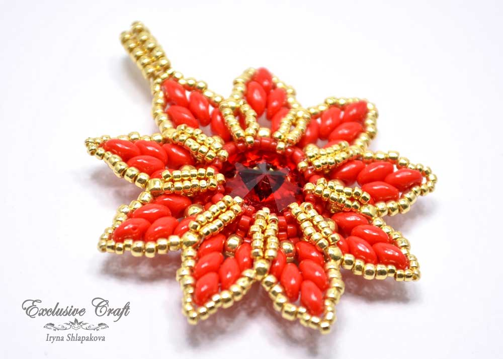 christmas ornament beaded red gold