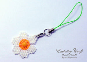 cell phone charm handcrafted flower