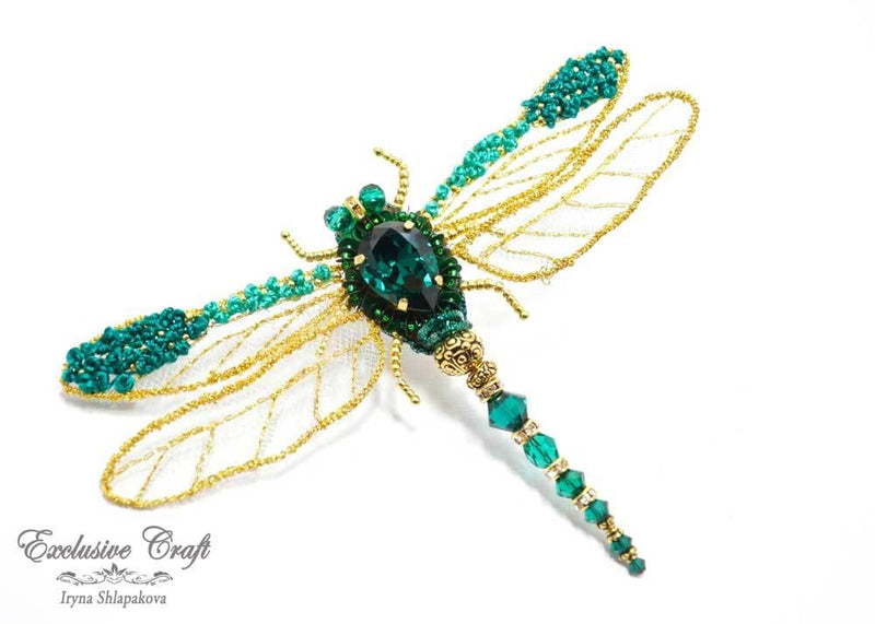 handmade beaded green gold dragonfly brooch