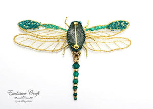 leather back brooch dragonfly