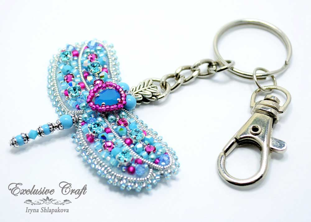 blue beaded dragonfly key chain
