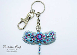 swarovski blue beaded dragonfly key chain