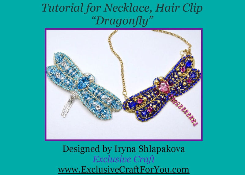 "Beading Tutorial Necklace/Hair clip ""Dragonfly"""
