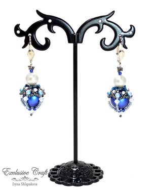 beaded earrings with swarovski blue unique