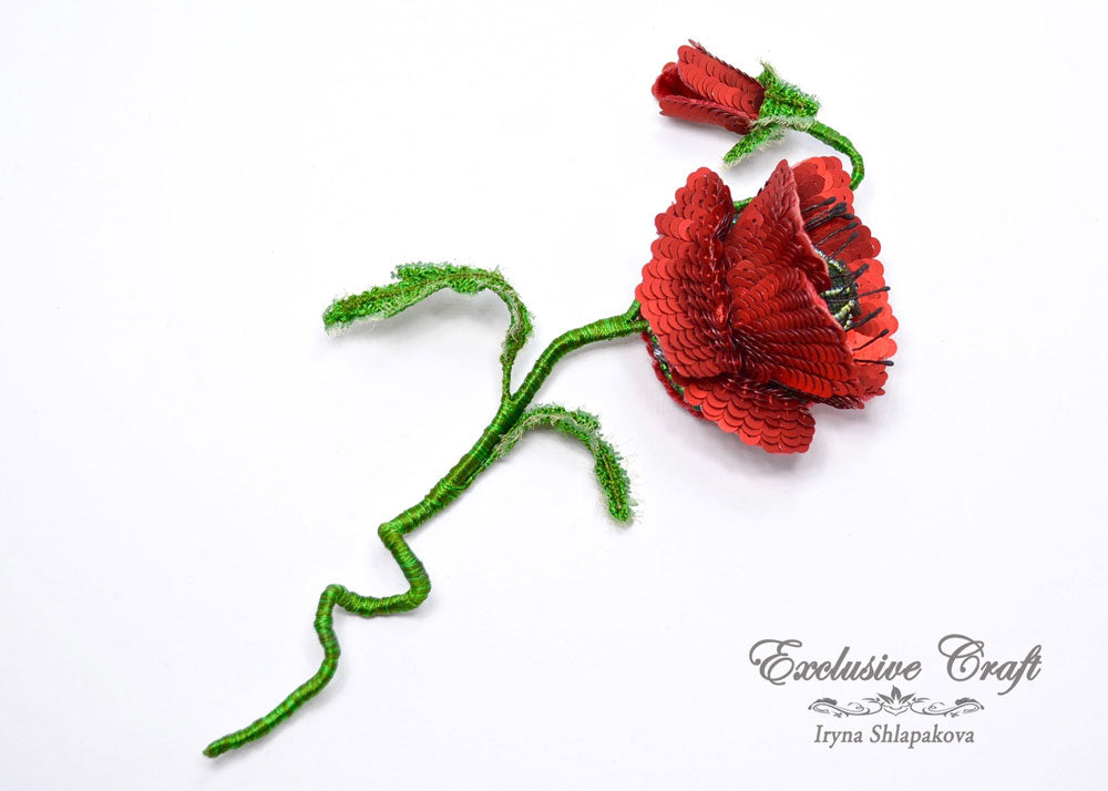 tambour embroidery beaded poppy brooch