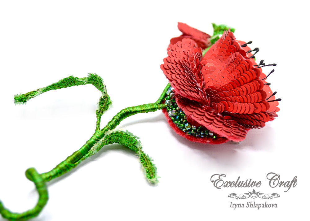 tambour embroidery beaded poppy brooch handmade