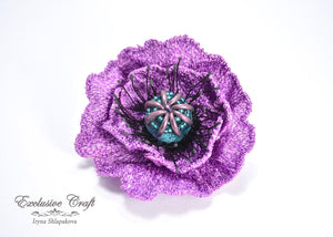 handmade tambour embroidered purple poppy brooch