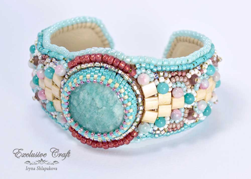 panton colors bead embroidered cuff bracelet
