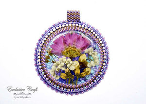 handmade artisan jewelry beaded pendant purple