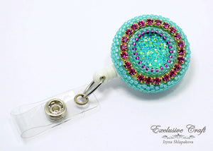 unique adjustable beaded ID badge holder clip fuchsia teal
