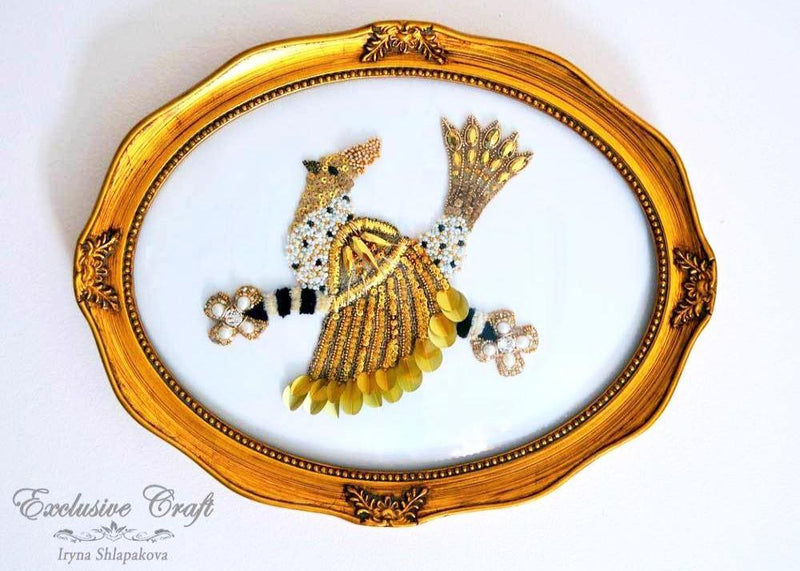 unique beaded framed art bird