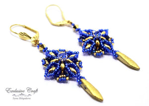 handmade blue gold beaded earrings with swarovski