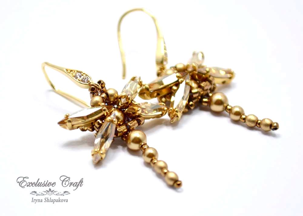 gold Swarovski beaded dragonfly earrings