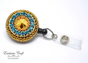 swarovski gold beaded badge holder nurse teacher
