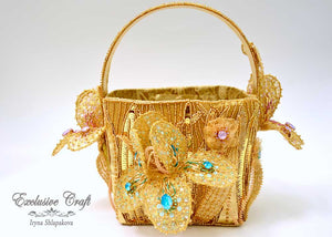 tambour embroidered flower basket purse