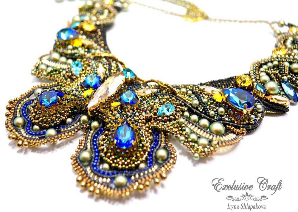 unique handmade beaded blue green gold swarovski necklace butterfly