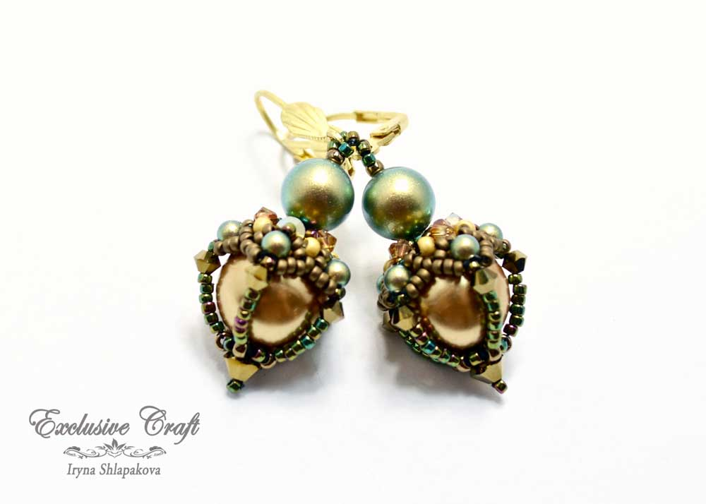 beaded earrings with swarovski bronze green