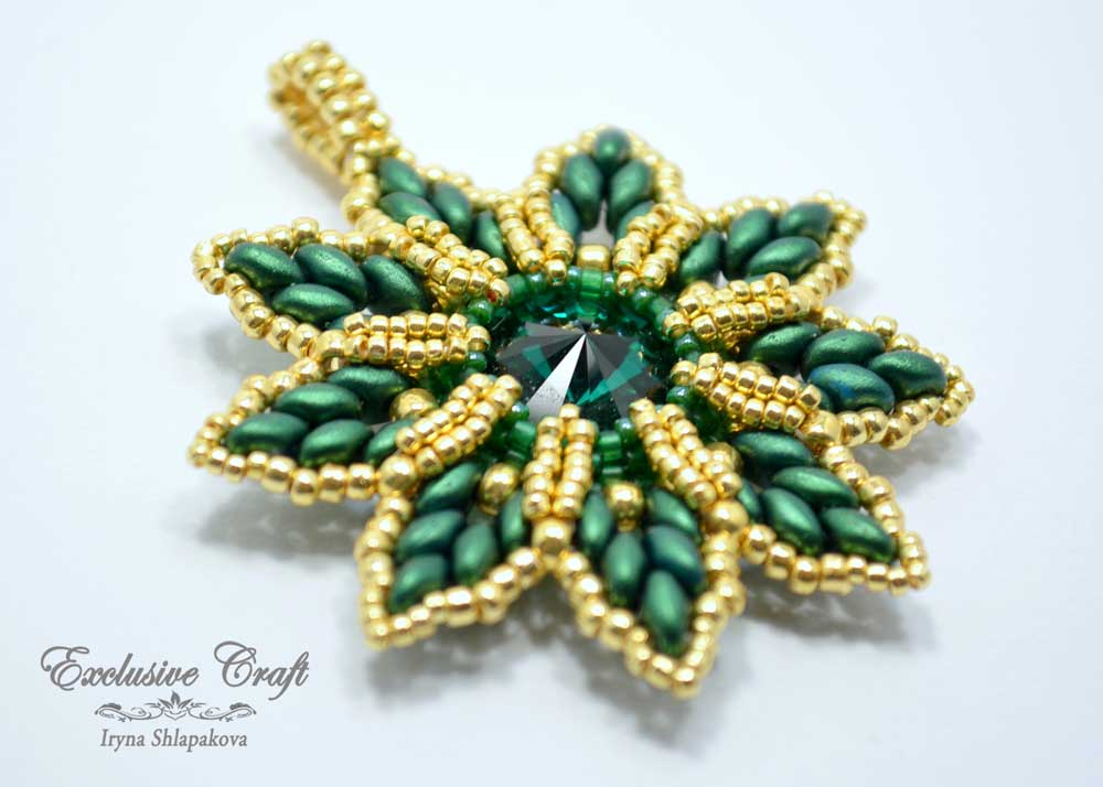 green gold beaded swarovski christmas ornament