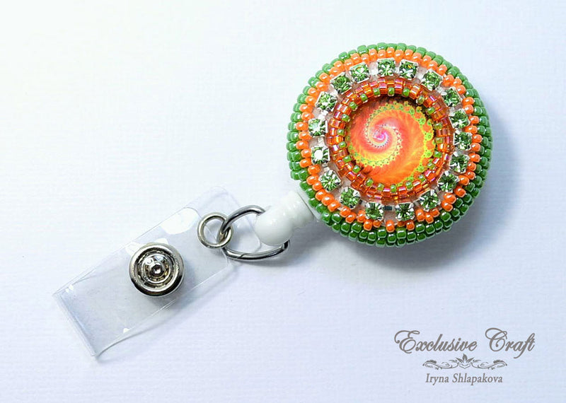 green orange beaded badge reel holder for nurse