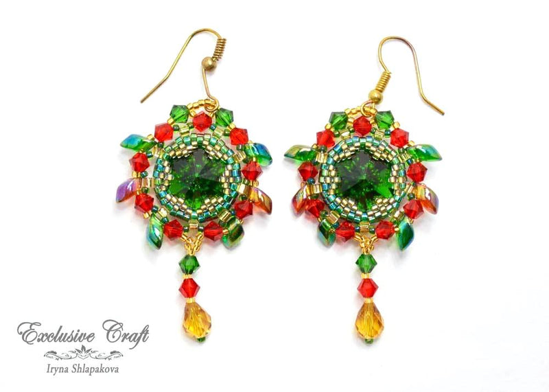 beaded earrings with swarovski green orange