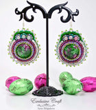 beaded green pink earrings