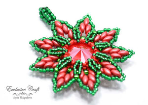 swarovski christmas ornament beaded red green