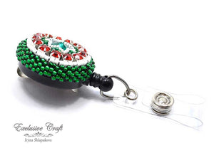 Swarovski green red Mexico bead embroidered ID badge for nurse teacher