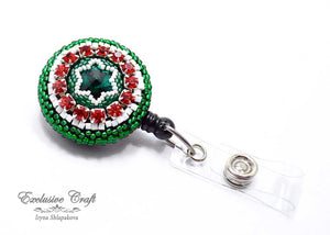 green red Mexico bead embroidered ID badge for nurse teacher