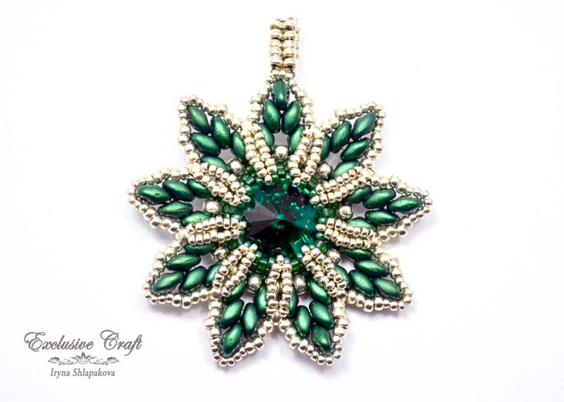 green silver swarovski christmas ornament