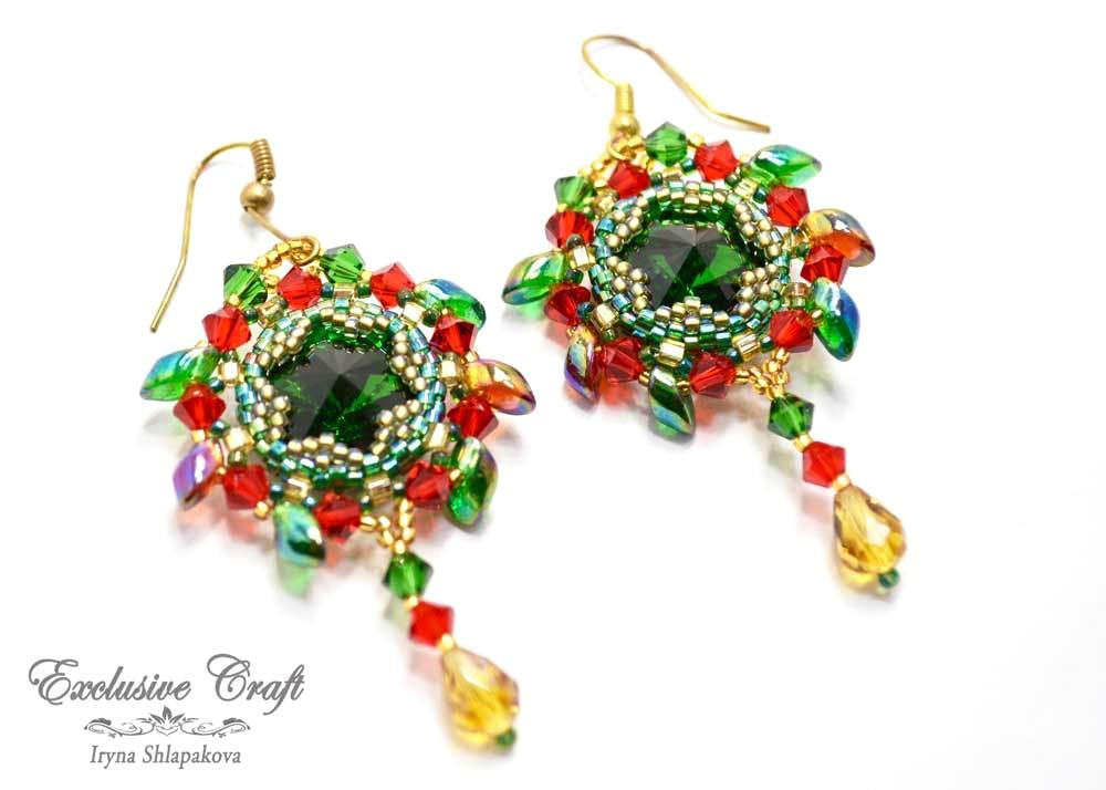beaded earrings gold green