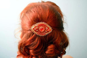 beaded red gold hair accessory