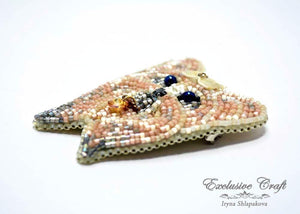 handmade beaded dog brooch