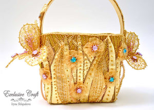 handmade tambour embroidered gold flower basket purse