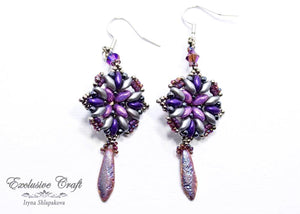 handcrafted purple beaded earrings with swarovski