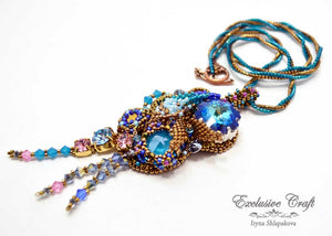 handmade artisan jewelry beaded necklace bronze blue