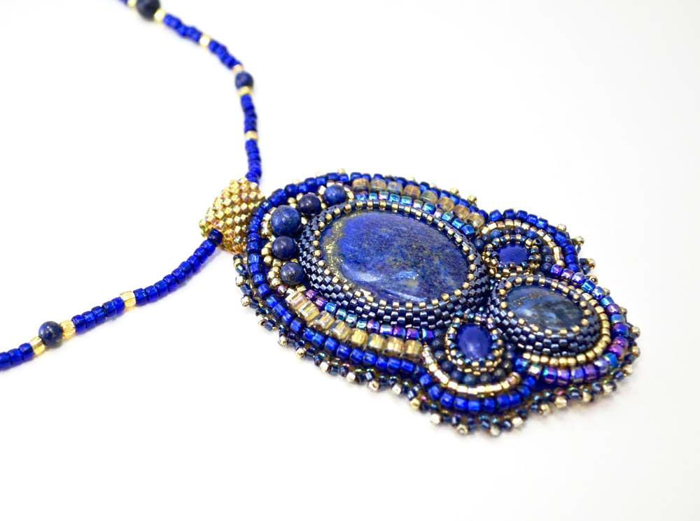 handmade artisan jewelry beaded pendant blue