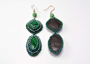malachite earrings beaded