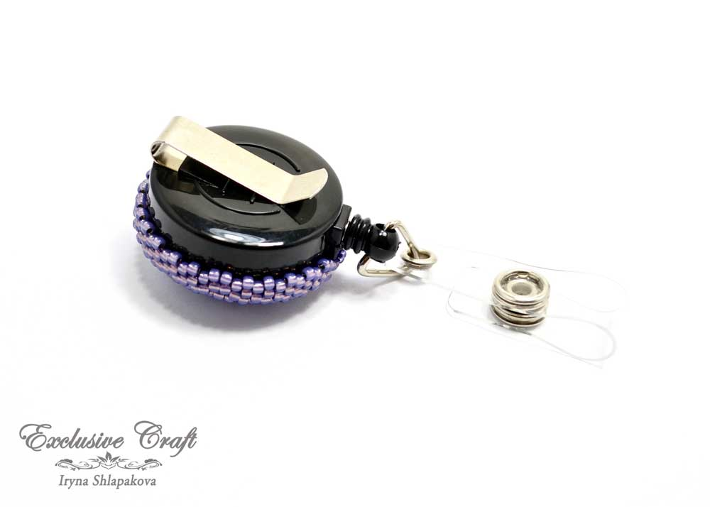 beaded purple perls ID badge reel holder retractable