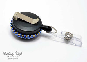 unique gold blue bead embroidered ID badge reel holder for nurse